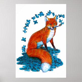 Fox Kitsune Surreal Butterfly Fantasy Dreamscape Poster