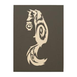 Fox Kitsune Tribal with Spirit Lantern Wood Wall Art
