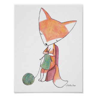 Fox Knitting Fox Wall Art Poster Woodland Nursery
