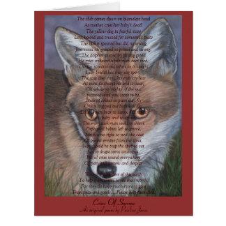 fox la tarjeta grande del arte del poema animal de