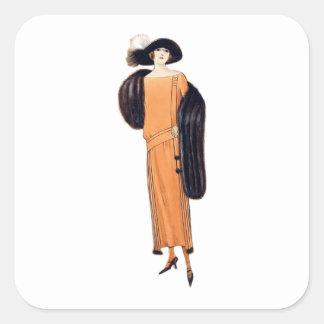 Fox Lady - Vintage Fashion Illustration Square Sticker