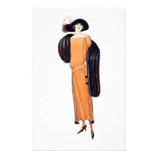 Fox Lady - Vintage Fashion Illustration Personalized Stationery