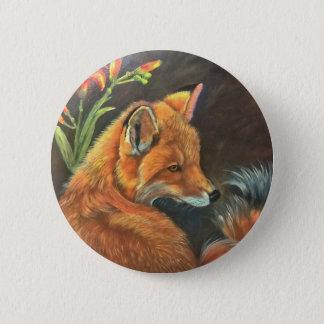 fox landscape paint painting hand art nature button