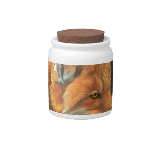 fox landscape paint painting hand art nature candy dish