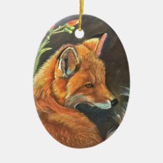 fox landscape paint painting hand art nature ceramic ornament