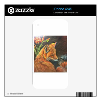 fox landscape paint painting hand art nature decals for the iPhone 4
