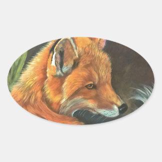 fox landscape paint painting hand art nature oval sticker