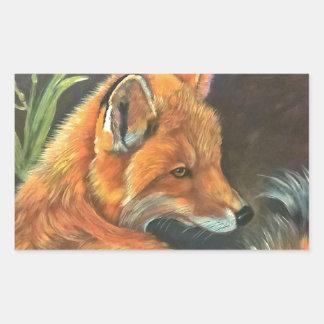 fox landscape paint painting hand art nature rectangular sticker