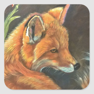 fox landscape paint painting hand art nature square sticker