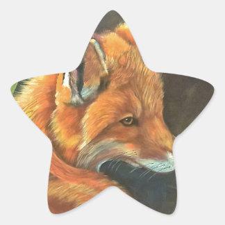 fox landscape paint painting hand art nature star sticker
