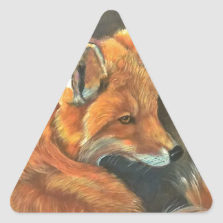 fox landscape paint painting hand art nature triangle sticker