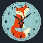 "Fox Large Clock<br><div class=""desc"">fox cute animals  blue</div>"