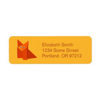 Fox lindo amarillo de Origami Etiqueta De Remitente