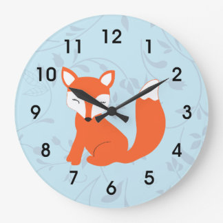Fox lindo azul del bebé del arbolado reloj redondo grande