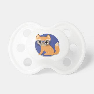Fox lindo de Brown con los vidrios en azul Chupetes De Bebé