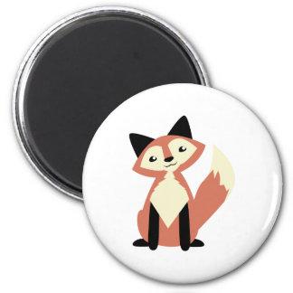 Fox lindo de la Cabeza-inclinación Imán Redondo 5 Cm