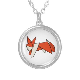 Fox lindo de Origami del naranja y del blanco Colgante Redondo