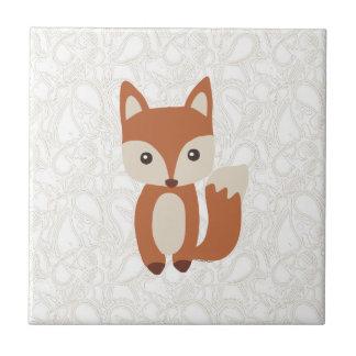 Fox lindo del bebé teja  ceramica