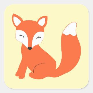 Fox lindo del bebé del arbolado pegatina cuadradas