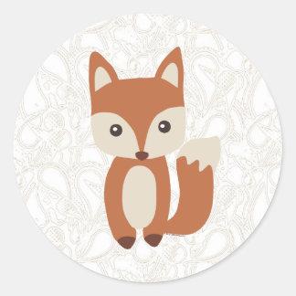 Fox lindo del bebé pegatina redonda