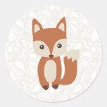 Fox lindo del bebé pegatinas redondas