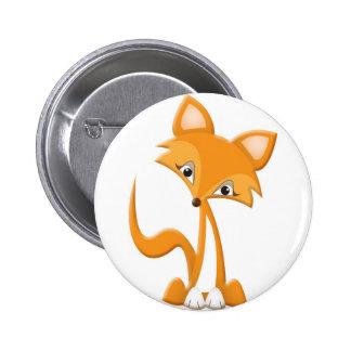 Fox lindo del dibujo animado pin redondo 5 cm