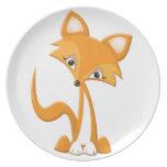 Fox lindo del dibujo animado plato