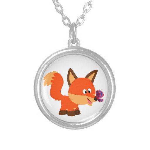 Fox lindo del dibujo animado y collar de la maripo