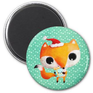 Fox lindo del navidad imán redondo 5 cm