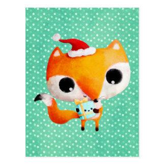 Fox lindo del navidad tarjetas postales