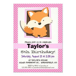 """Fox lindo en rayas rosadas y blancas invitación 5"""" x 7"""""""