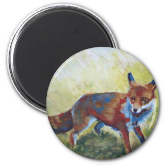 Fox looking startled painting 2 inch round magnet