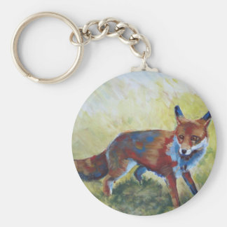 Fox looking startled painting basic round button keychain