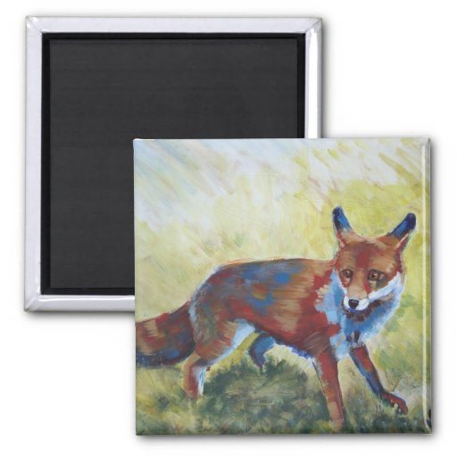 Fox looking startled painting refrigerator magnets