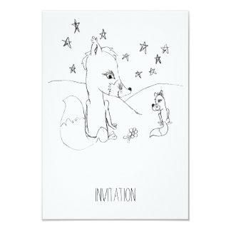 Fox Love Couple Pencil Drawing Card