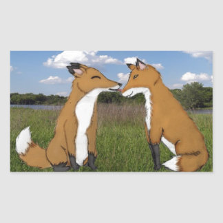 Fox Lovers Rectangular Sticker
