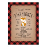 Fox Lumberjack Plaid Baby Shower Invitation
