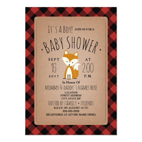 Fox Lumberjack Plaid Baby Shower Invitation