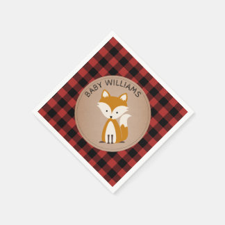Fox Lumberjack Plaid Baby Shower Napkins