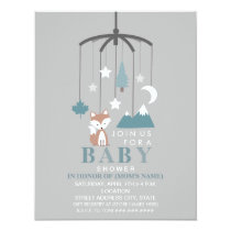 Fox Mobile Modern Boy Baby Shower Card
