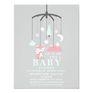 Fox Mobile Modern Girl Baby Shower Card