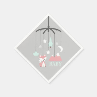Fox Mobile Modern Pink Baby Shower Napkins