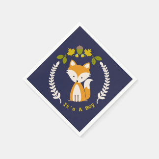 Fox Modern Boy Baby Shower Napkins