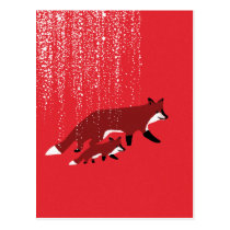 Fox mother and baby walking under snow postcard
