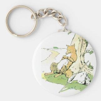 Fox Napping que se inclina contra árbol Llavero Redondo Tipo Pin