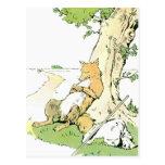 Fox Napping que se inclina contra árbol Postal