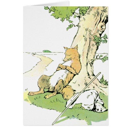 Fox Napping que se inclina contra árbol Tarjetas