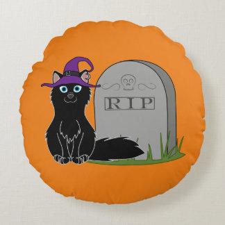 Fox negro con la piedra del sepulcro del RASGÓN Cojín Redondo
