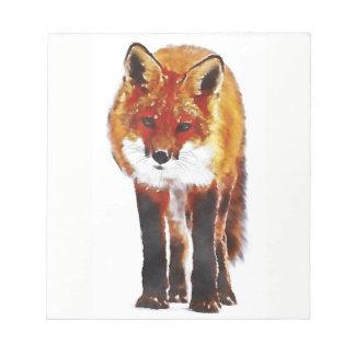 fox note pad, foxy notepad, fox cub stationary