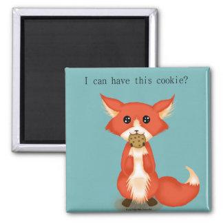 Fox observado grande lindo que come una galleta imán cuadrado